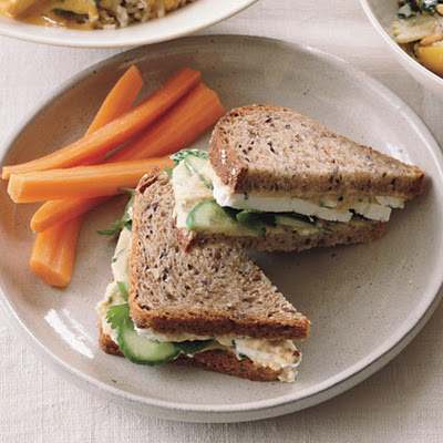 Hummus and Feta Sandwiches on Whole Grain Bread