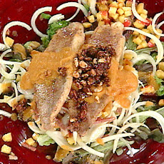 Southern Fried Catfish Salad with Orange Sweet Potato-Bourbon Dressing