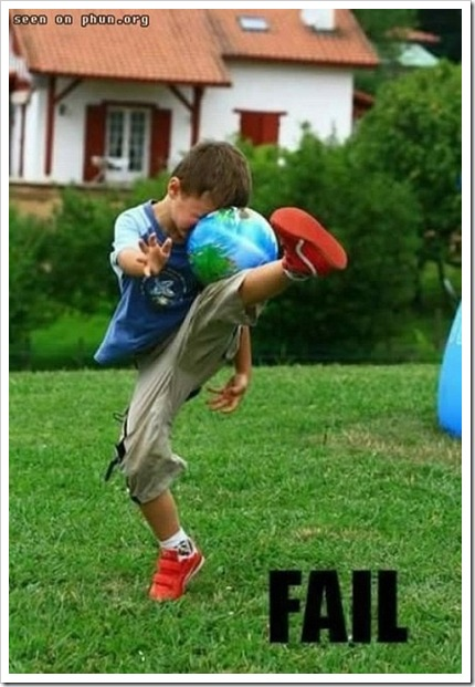 FAIL - Funny kid picture - Kids fails to kick the ball.