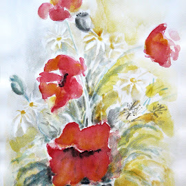 Poppies by Artica Arta - Painting All Painting ( watercolor, poppies, transparent )