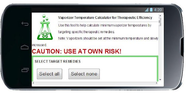 THERMO VAPORIZER CALCULATOR - screenshot