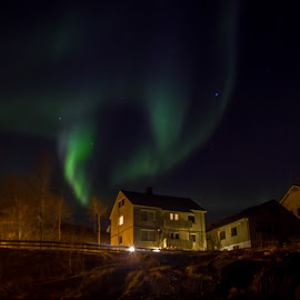 RLK by Elisabeth Sjåvik Monsen - Buildings & Architecture Office Buildings & Hotels ( office, building, winter, aurora borealis, northern lights, night, arctic, evening, nightscape, norway )