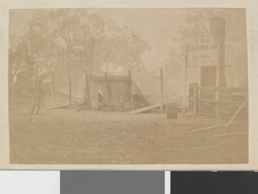 The remains of Mrs Jones's hotel, the Glenrowan Inn, after it was burned down by police.