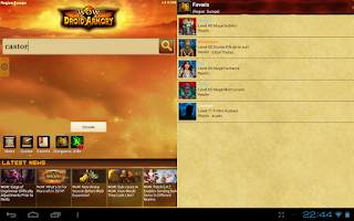 Screenshot of WoW Droid Armory