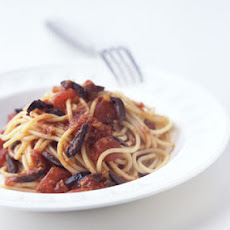 Spaghetti with Spicy Tomato Olive Sauce