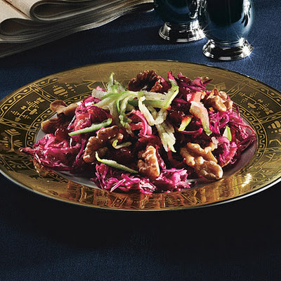 Red Cabbage Salad with Green Apple, Lingonberry Preserves, and Toasted Walnuts
