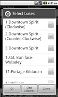 Screenshot of Winnipeg Transit Schedule Tool