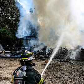 Man the hose by Matt Weaver - News & Events Disasters ( hose, westport, department, ma, garage, massachusetts, fighter, master stream, fire, fire department )