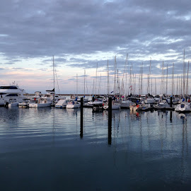 Calm waters by Pamela Howard - Instagram & Mobile iPhone ( calm, water, sky, boats, sea, marina, yachts )