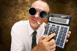 an image of a man with a calculator, goggle and a cigarette.