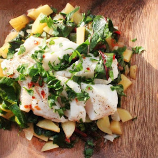 Steamed Fish with Chard and Potato Hash