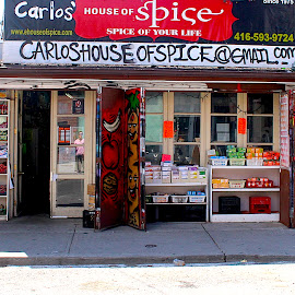 Spice of Your Life by Ronnie Caplan - City,  Street & Park  Neighborhoods ( streetscene, store, signage, shadows, sidewalk, colours )