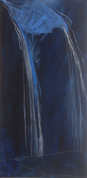 Langdale Falls # 1 <br> Acrylic paint, pastel on canvas <br> 40 x 18 in