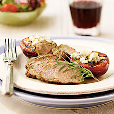 Peppered Pork Tenderloin with Blue Cheese Plums