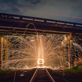 Energy by Brent Sharp - Abstract Light Painting ( ball, steel wool, railroad, night, long exposure, bridge, sparks,  )