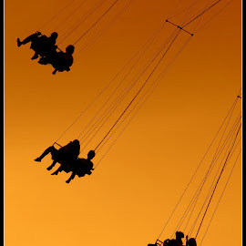 High in the Sky!  by Dale Carney - City,  Street & Park  Amusement Parks ( rides, amusement parks, sillouette, fun, swing,  )