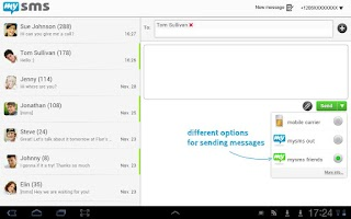 Screenshot of mysms Tablet (outdated)