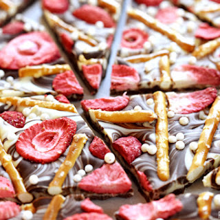 Strawberry Pretzel Chocolate Swirl Bark