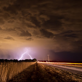 ON A DARK STORMY NIGHT by Matthew Burniston - Landscapes Weather ( dark night, lightning, australia, weather, stormy night, thunder storm, dark country road, country victoria, mother nature )