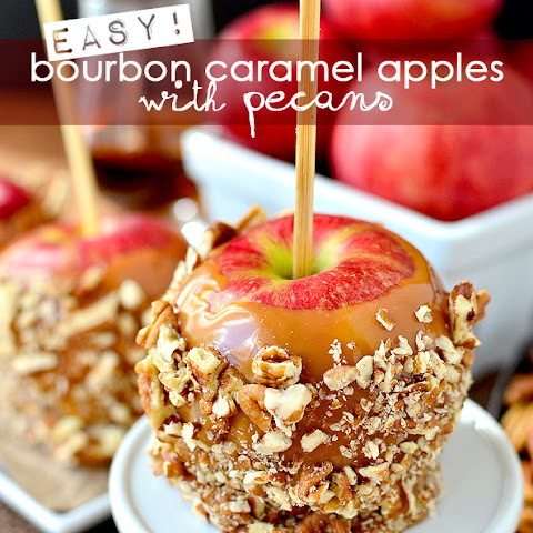 Easy Bourbon Caramel Apples with Pecans