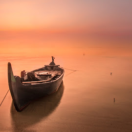 lonely boat by Tito Pradipta - Transportation Boats ( purple, sunset, beach, fisherman, boat )