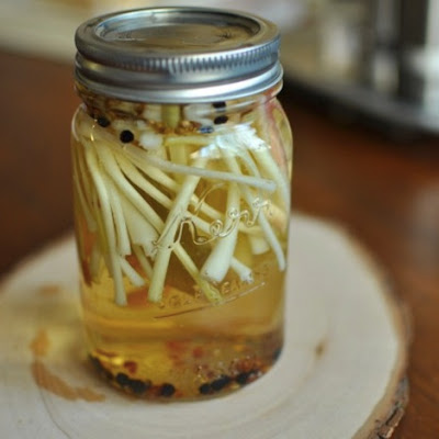 Quick Pickled Ramps with Coriander and Chili Flakes