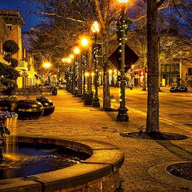 Downtown Fountain by Carol Plummer - City,  Street & Park  Street Scenes ( fountain, street, night, city,  )
