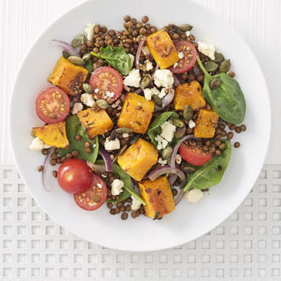 Warm roasted squash and Puy lentil salad