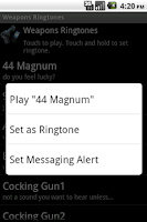 Screenshot of Weapons Ringtones
