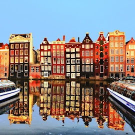 in Amstredam by Indrawaty Arifin - Buildings & Architecture Homes ( home, boats, canal,  )