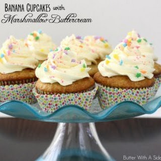 BANANA CUPCAKES with LEMON MARSHMALLOW BUTTERCREAM