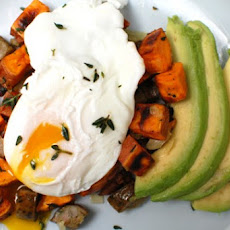 Turkey & Sweet Potato Hash with Poached Eggs & Avocado