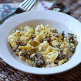 Green Chile and Sausage Scrambled Eggs