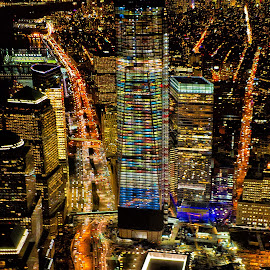 Never Forget  6625 by Karen Celella - City,  Street & Park  Skylines ( lights, helicopter, colors, night, vibrant, nyc, colorful, mood factory, happiness, January, moods, emotions, inspiration )