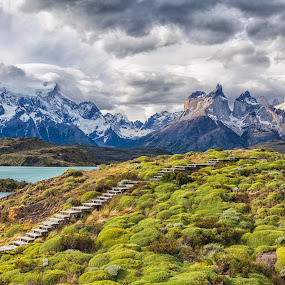Cuernos Del Paine by Jay Gould - Landscapes Mountains & Hills ( curenos del paine, 2009, angry sky, mountains, argentina-torres del paine, lake )