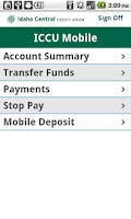Screenshot of ICCU Mobile Banking