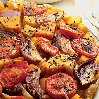 Spiced squash & sweet potato tarte Tatin