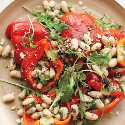 Roasted Red-Pepper Salad with Anchovy White Beans