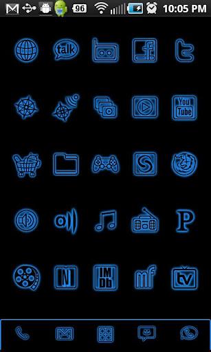GloWorks Blue ADW Theme