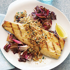Grilled Trout Fillets with Crunchy Pine-nut Lemon Topping
