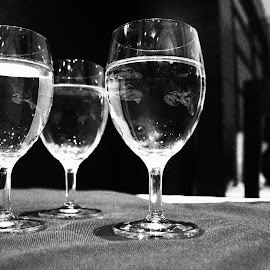 3 Cheers! by Pratyush Tyagi - Artistic Objects Cups, Plates & Utensils ( water, black and white, glass, shining, solitude )