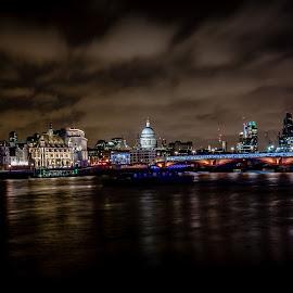 london skyline by Ozlem Mehmet - City,  Street & Park  Skylines ( skyline, night photography, london, vista, cityscape, nightscape )