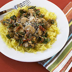 Spaghetti Squash with Chicken, Mushrooms and Spinach