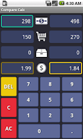 Screenshot of Compare Calc : Unit Price