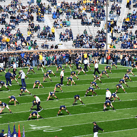 Fighting IRISH warming up  by Dennis McClintock - Sports & Fitness American and Canadian football ( football, college, sports, college football challenge,  )
