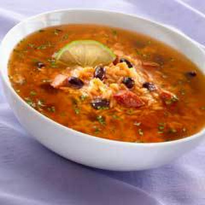 Rice & Black Bean Soup With Chorizo