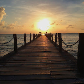 Sunset in Cozumel by Jenniffer Hunter - Buildings & Architecture Bridges & Suspended Structures ( sunset, cozumel, pixoto, beach )