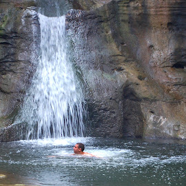 Swimming Hole by Philip Molyneux - Sports & Fitness Swimming ( water, falls, swim, swimming, hole )