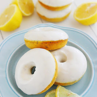 Lemon Poppy Seed Donuts with Vanilla Glaze