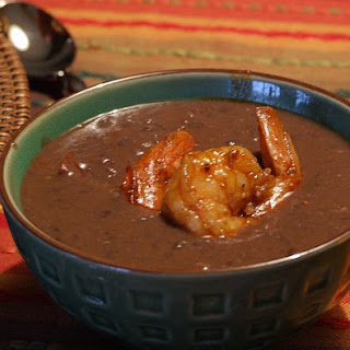 Black Bean Bisque with Rock Shrimp Escabeche